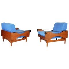 Black Skai Teak & Blue Cushioned 1960s Armchairs by F.Lli Saporiti'Attr to'