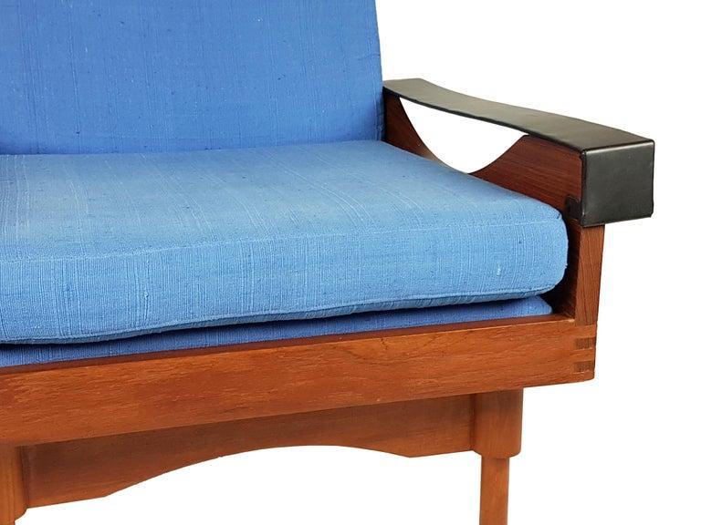 Black Skai Teak & Blue Cushioned 1960s Armchairs by F.Lli Saporiti(Attr to) For Sale 4