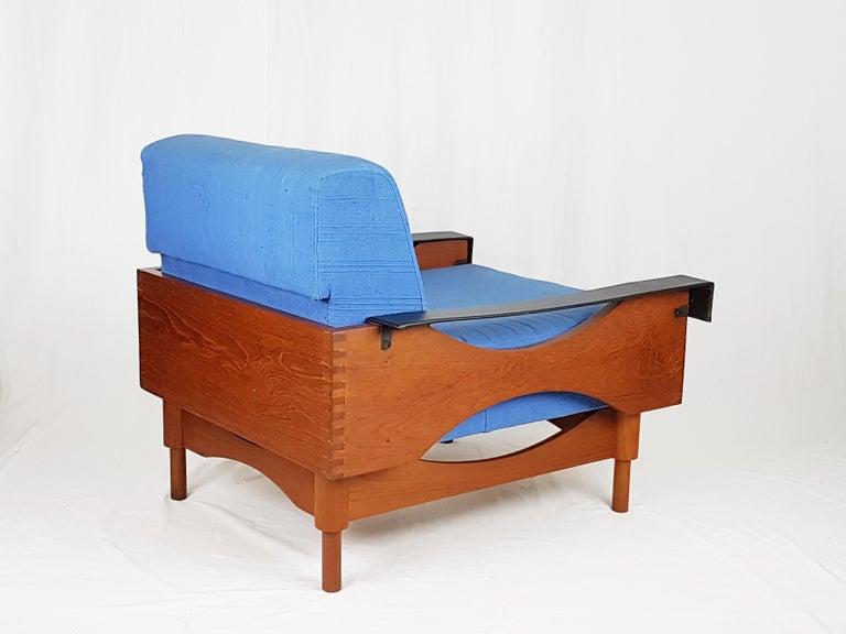 Black Skai Teak & Blue Cushioned 1960s Armchairs by F.Lli Saporiti(Attr to) For Sale 5