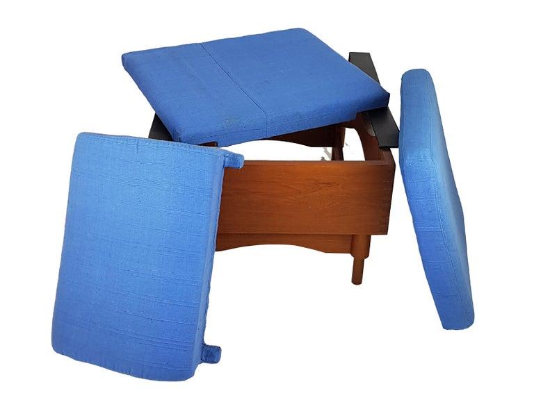 Black Skai Teak & Blue Cushioned 1960s Armchairs by F.Lli Saporiti(Attr to) For Sale 7