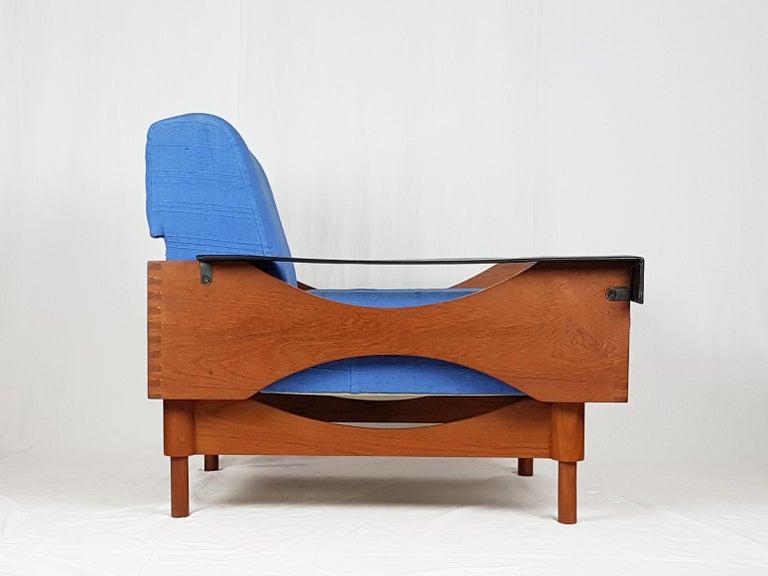 Mid-Century Modern Black Skai Teak & Blue Cushioned 1960s Armchairs by F.Lli Saporiti(Attr to) For Sale