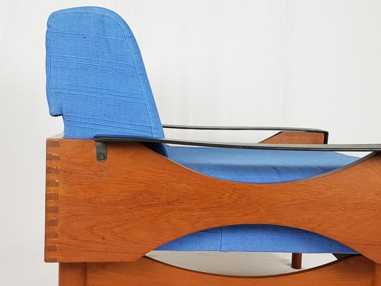 Italian Black Skai Teak & Blue Cushioned 1960s Armchairs by F.Lli Saporiti(Attr to) For Sale