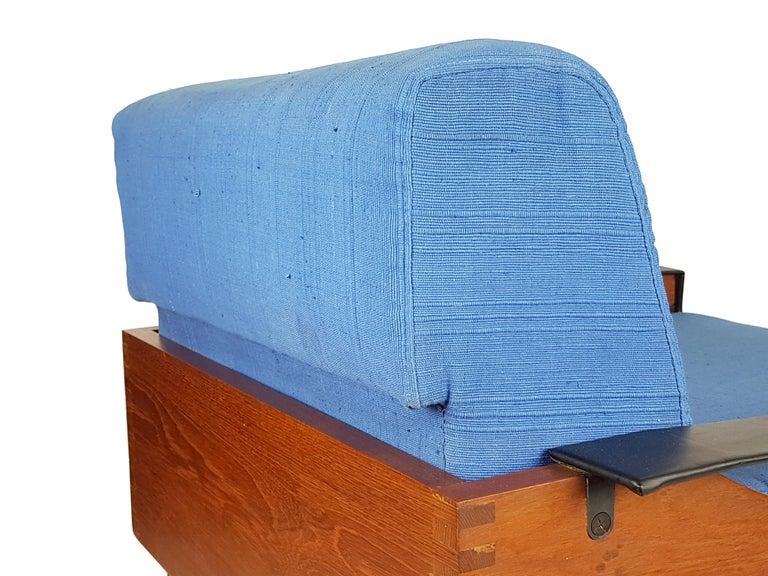 Mid-20th Century Black Skai Teak & Blue Cushioned 1960s Armchairs by F.Lli Saporiti(Attr to) For Sale