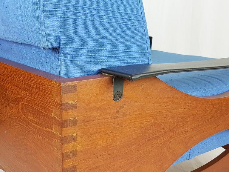Plastic Black Skai Teak & Blue Cushioned 1960s Armchairs by F.Lli Saporiti(Attr to) For Sale