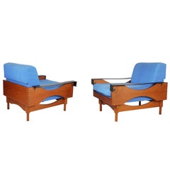 Black Skai Teak & Blue Cushioned 1960s Armchairs by F.Lli Saporiti(Attr to)