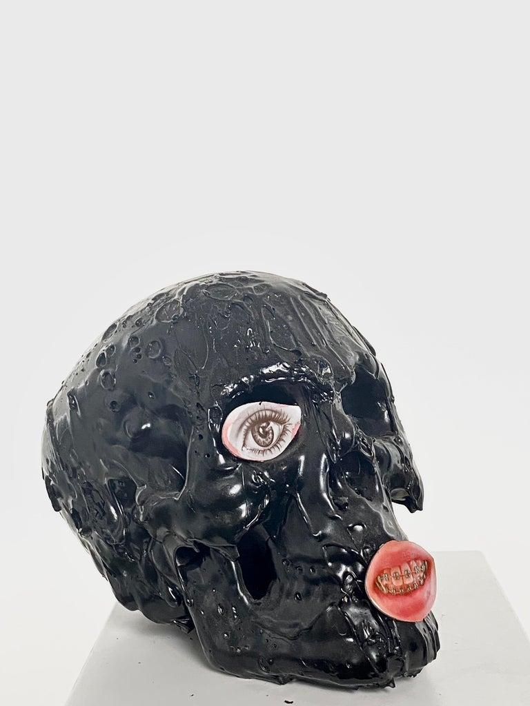 American Black Skull in TAR, 21st Century by Mattia Biagi For Sale