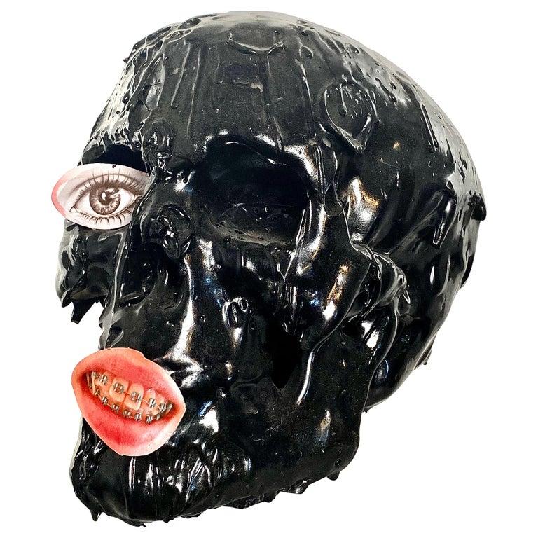 Black Skull in TAR, 21st Century by Mattia Biagi For Sale
