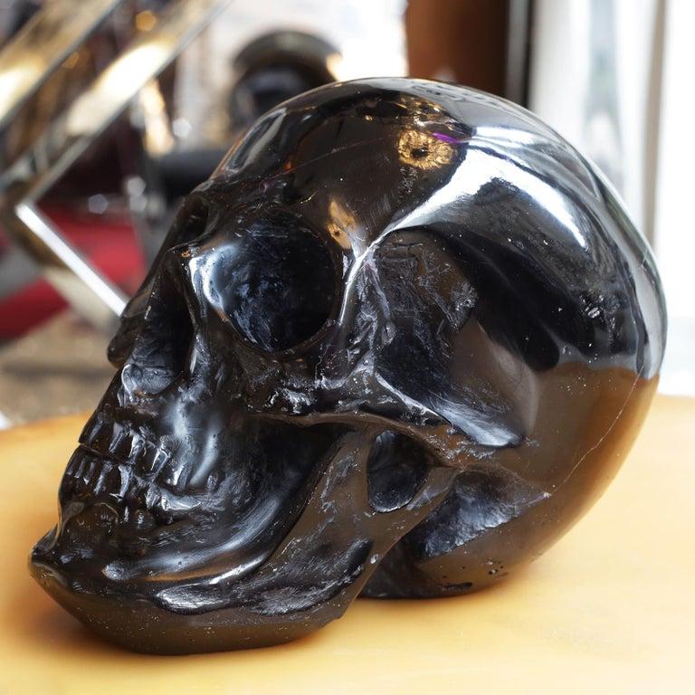 French Black Skull Sculpture in Blackened Glass Paste For Sale