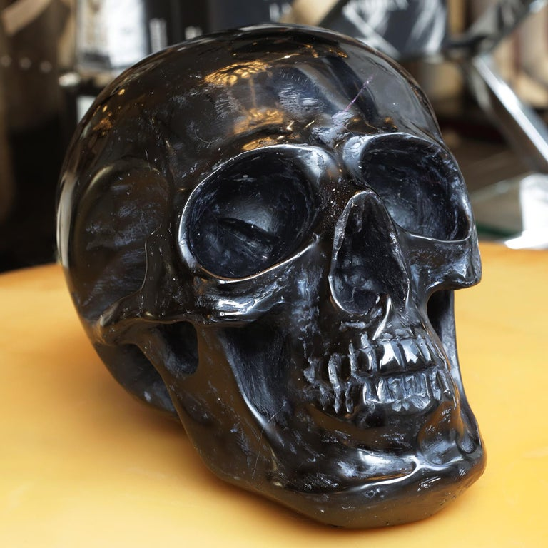 Hand-Crafted Black Skull Sculpture in Blackened Glass Paste For Sale