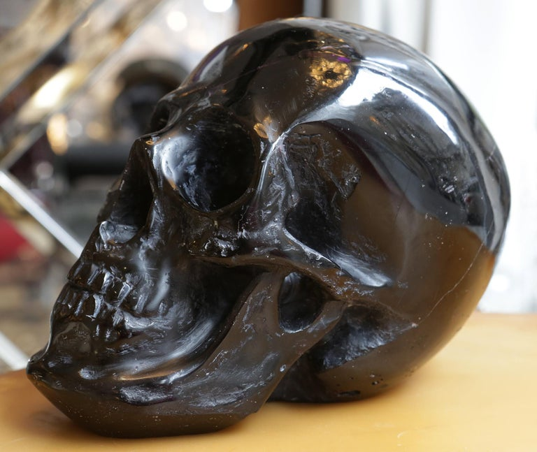 Contemporary Black Skull Sculpture in Blackened Glass Paste For Sale