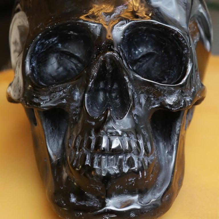 Black Skull Sculpture in Blackened Glass Paste For Sale 1