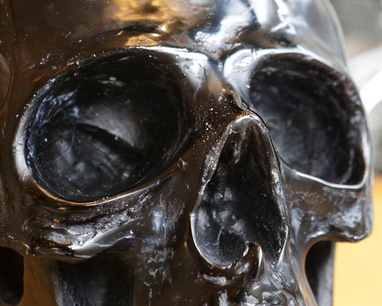 Black Skull Sculpture in Blackened Glass Paste For Sale 3