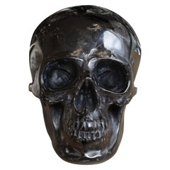 Black Skull Sculpture in Blackened Glass Paste