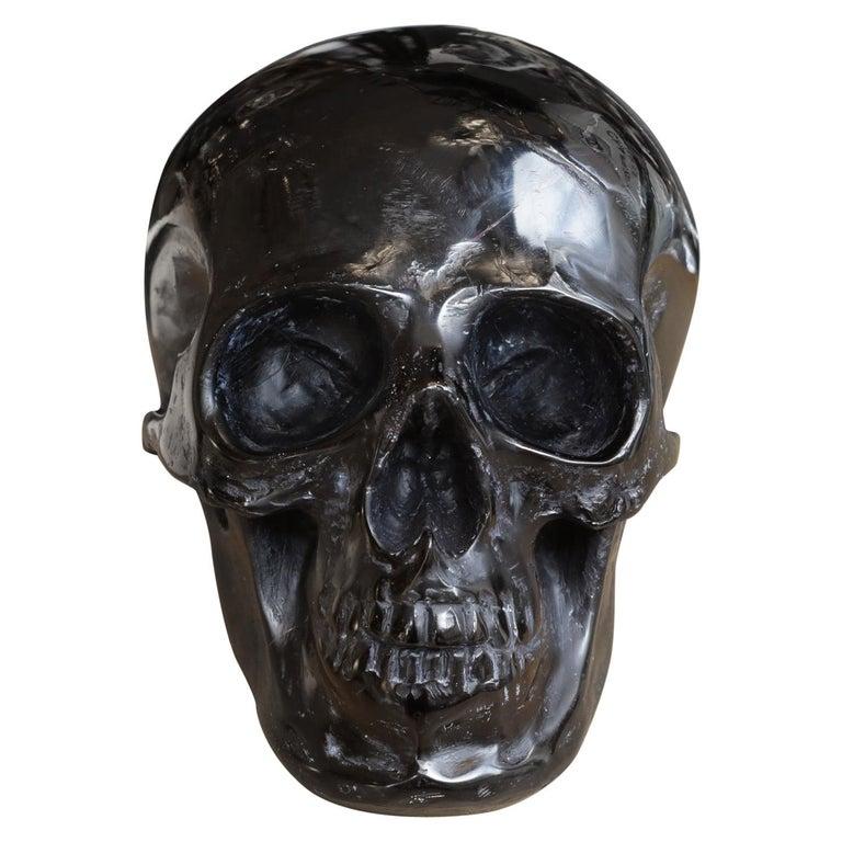 Black Skull Sculpture in Blackened Glass Paste For Sale