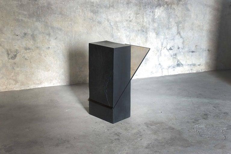 Modern Black Slate Guéridon, Averti, Frederic Saulou For Sale