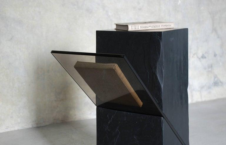 French Black Slate Guéridon, Averti, Frederic Saulou For Sale