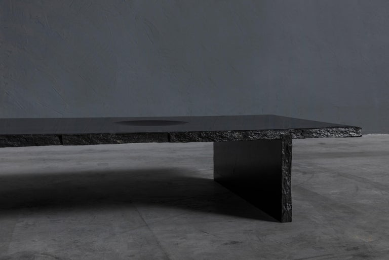 French Black Slate Sculpted Low Table by Frederic Saulou For Sale