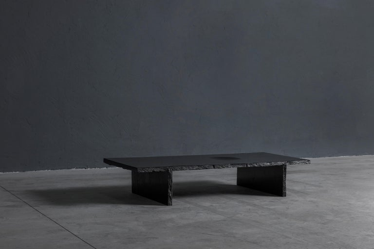 Black Slate Sculpted Low Table by Frederic Saulou In New Condition For Sale In Geneve, CH
