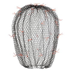 Black Small Cactus with Red Fluo Plugs in Wire Mesh by Benedetta Mori Ubaldini