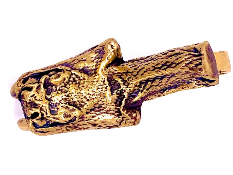 Contemporary Heavy Metals NYC Black Snake Moan Double-Finger Ring in 18K Gold-Plated Brass For Sale