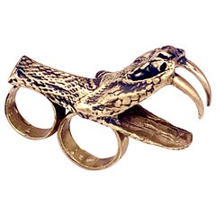 Heavy Metals NYC Black Snake Moan Double-Finger Ring in 18K Gold-Plated Brass