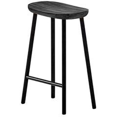 Black Solid Acacia Counter Stool with Black Iron Legs