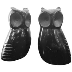 Black Solid Stone Onyx Owl Bookends