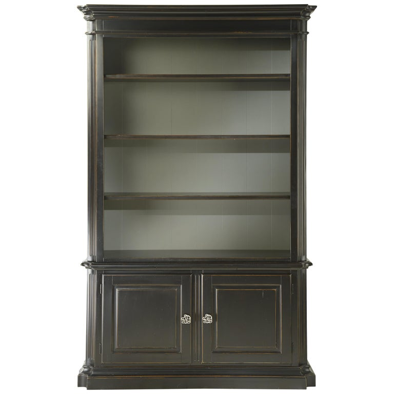 Black Solid Wood Bookcase In Classic Style For Sale At 1stdibs
