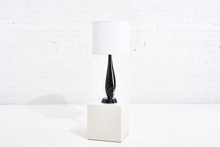 Black Sommerso Murano lamp by Flavio Poli for Seguso, 1950.
