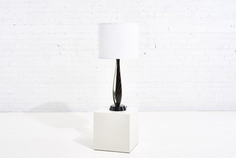 Italian Black Sommerso Murano Lamp by Flavio Poli for Seguso, 1950 For Sale