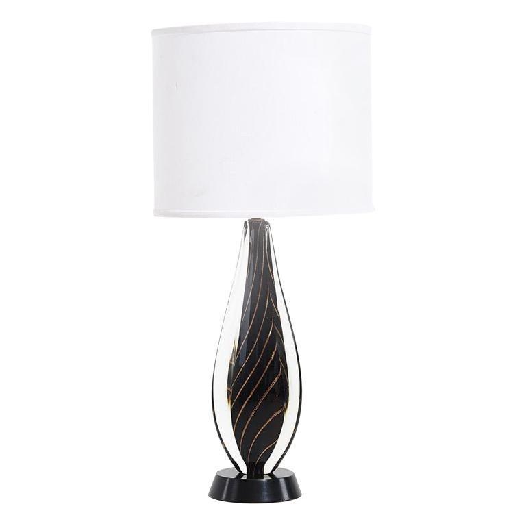 Black Sommerso Murano Lamp by Flavio Poli for Seguso, 1950 For Sale