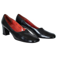 Black Souliers Christian Dior Block Heel Pumps with High Vamp – US 10, 1960s
