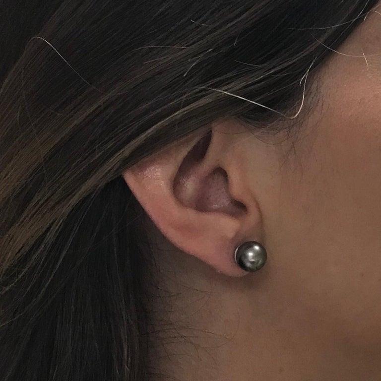 Black South Sea Pearl 18 Karat White Gold Earrings For Sale 2