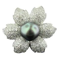 Black South Sea Pearl and Diamond Flower Design Ring in 18 Karat White Gold