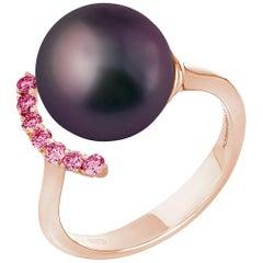 Black South Sea Pearl Rhodolite 0.25 Carat on Rose Gold 18 Karat Ring