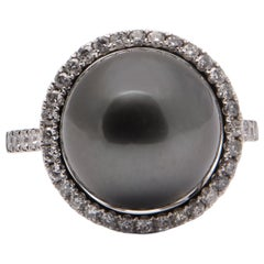 Black South Sea Pearl Ring With Diamond Halo in 18 Karat White Gold