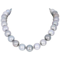 Black South Sea Tahitian Pearl Necklace with Diamond Clasp