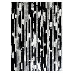 Black, Speckled and Gray customizable Cojonudo Cowhide Area Floor Rug Large