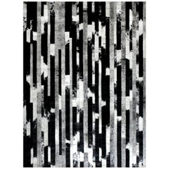Black, Speckled and Gray customizable Cojonudo Cowhide Area Floor Rug Small