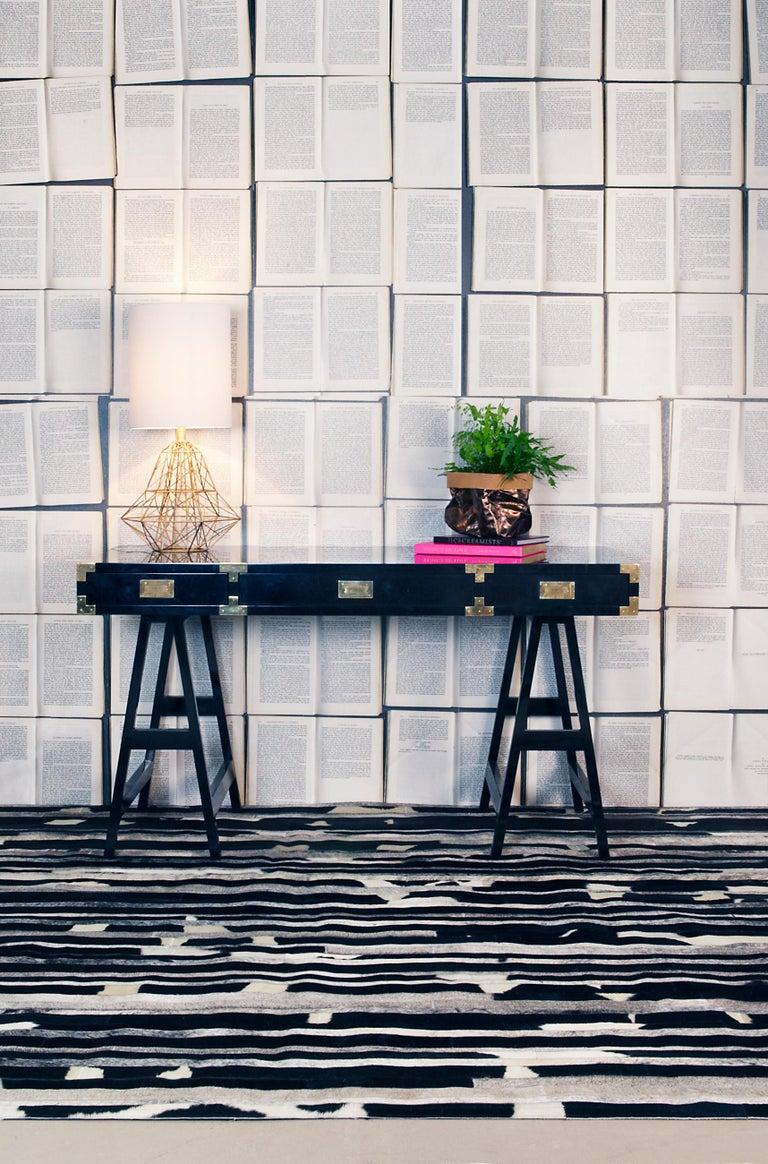 Art Deco Black, Speckled and Gray customizable Cojonudo Cowhide Area Floor Rug Small For Sale