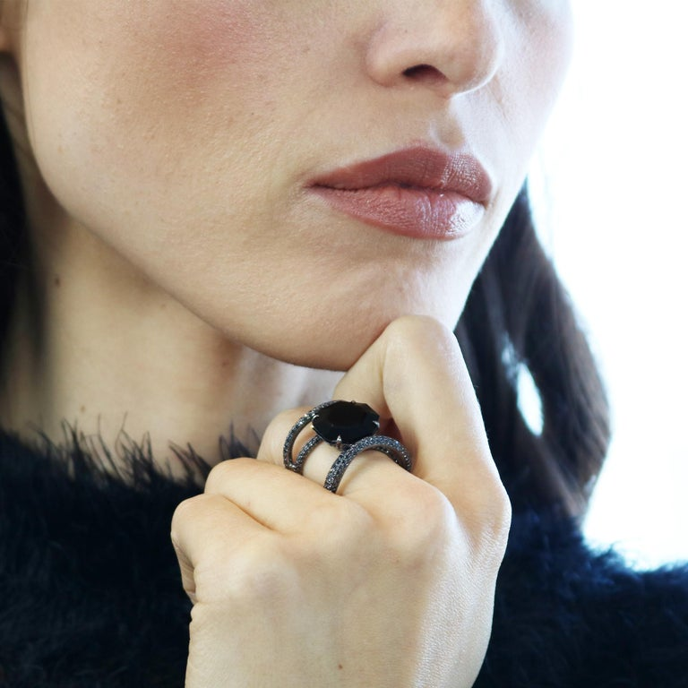 Contemporary Black Spinel and Black Diamond Ring in 18 Karat White Gold Black Rhodium Finish For Sale