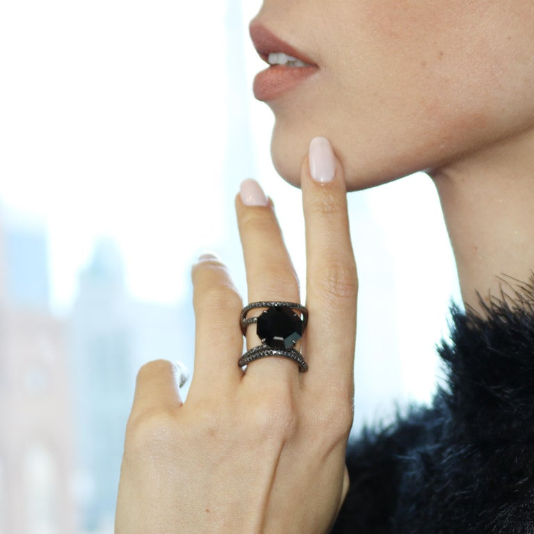 Black Spinel and Black Diamond Ring in 18 Karat White Gold Black Rhodium Finish In New Condition For Sale In New York City, NY