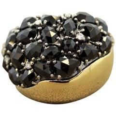 Black Spinel Diamond Gold Cocktail Ring