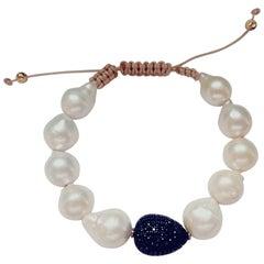 Black Spinel Pave and Pearls Bracelet