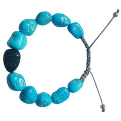 Black Spinel Pave and Turquoise Bracelet