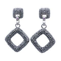 Black Spinel Pave Set Designer Drop Earrings