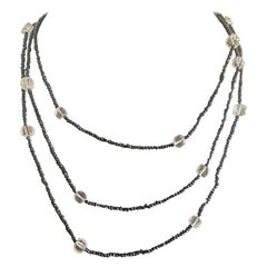 1920s Style Necklace with Black Spinel Beads in Sterling Silver
