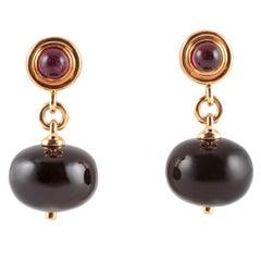 "Black Spinel Rubellite Diamond ""Mogul"" Earrings by Syna Jewels"