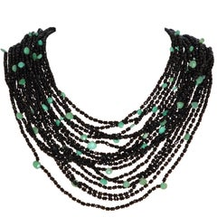 Black Spinels and Chrysophrases with Bakelite Clasp Multi-Strand Necklace