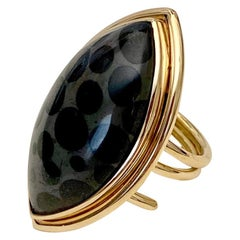 Black Spotted Fossilized Coral 18 Karat Yellow Gold Spring Ring